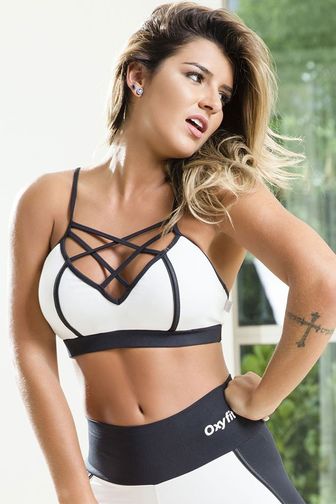 9656f441f5 OXYFIT Power White Sexy Workout Sports Bra
