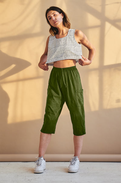 Cropped Pants - Army Green