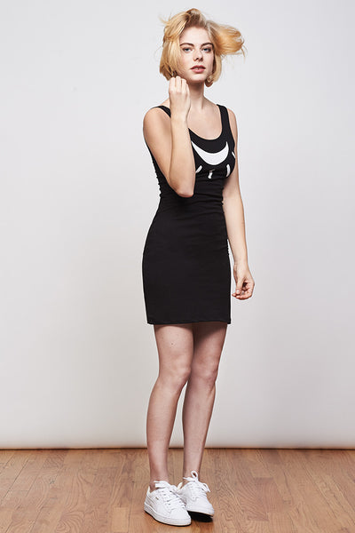 Moon Lamp Dress - Black Printed
