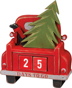 Days To Go Block Countdown Red Carved Truck