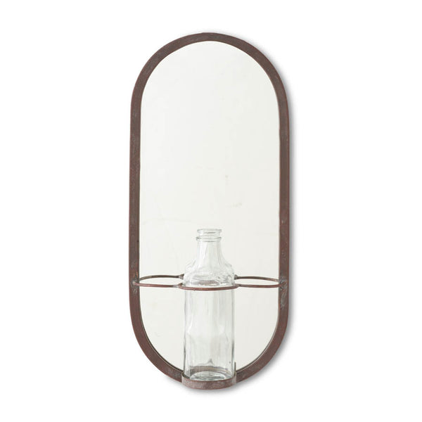 Metal Frame Mirror with Glass Bottle Holder
