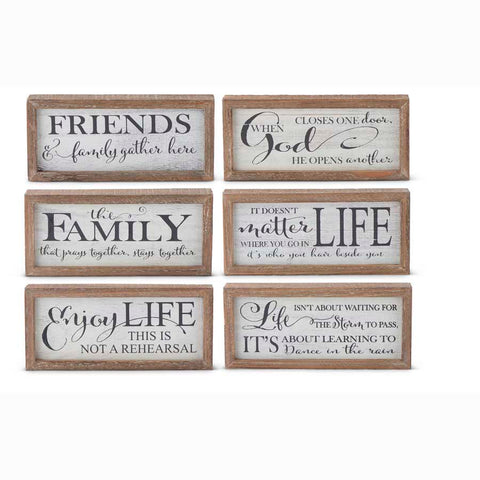 Assorted 8 Inch White Wood Message Tabletop Signs (6 Styles)