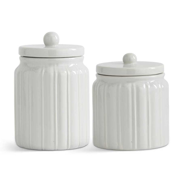 Ceramic Ribbed Lidded Canisters White or Grey (2 sizes)