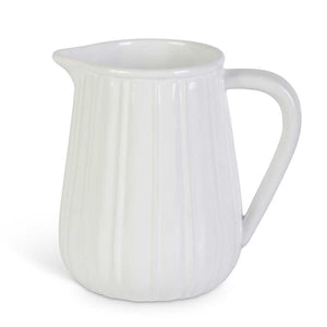 6 Inch Ribbed Ceramic Pitcher White or Grey
