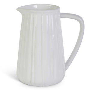 7.5 Inch Ribbed Ceramic Pitcher White or Grey