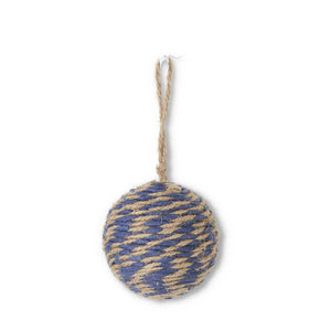 Blue and Tan Rope Ball Ornament