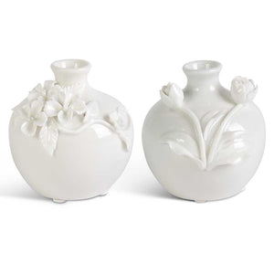 Short White Ceramic Vase w/Raised Flowers (2 Styles)