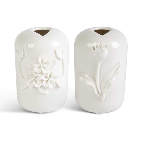 Tall White Ceramic Vase w/Raised Flowers (2 Styles)