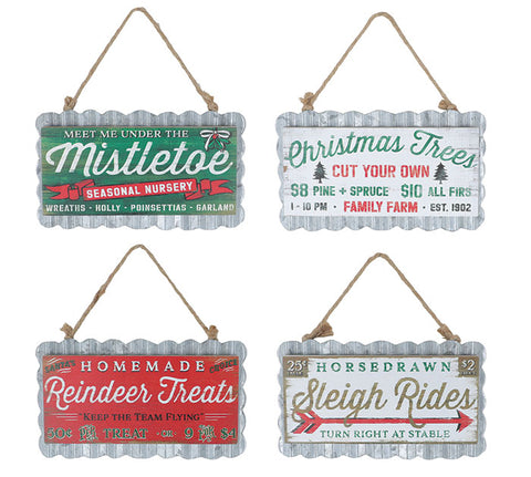 CHRISTMAS SEASON SIGN ORNAMENT (4 styles)