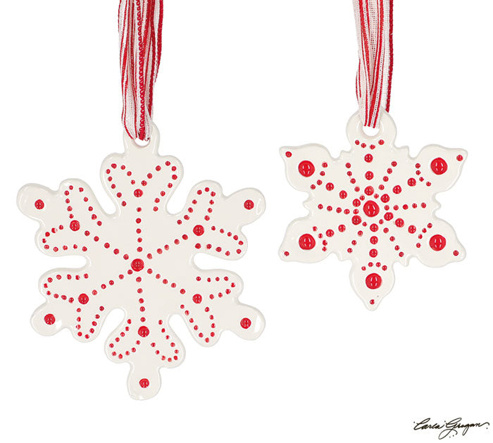 RED/WHITE SNOWFLAKE SHAPE ORNAMENT (2 sizes)