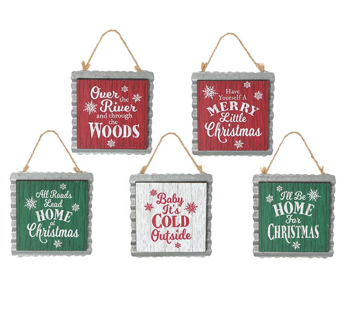 MESSAGE ORNAMENT WITH TIN BACKING (5 styles)