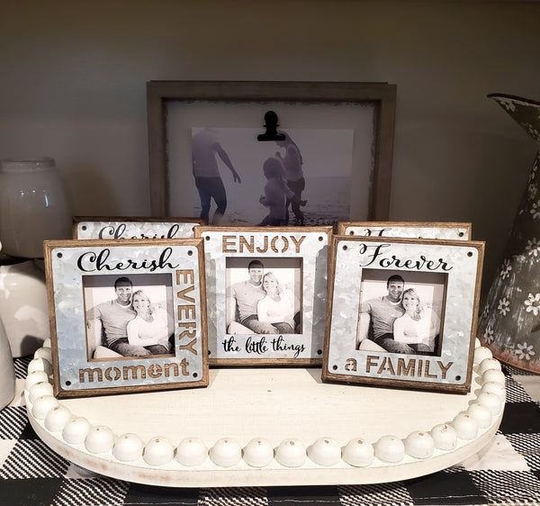 Assorted Barnwood Square Picture Frames with Tin Cutout Overlay