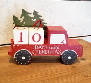 Days Until Christmas Block Countdown Red Truck