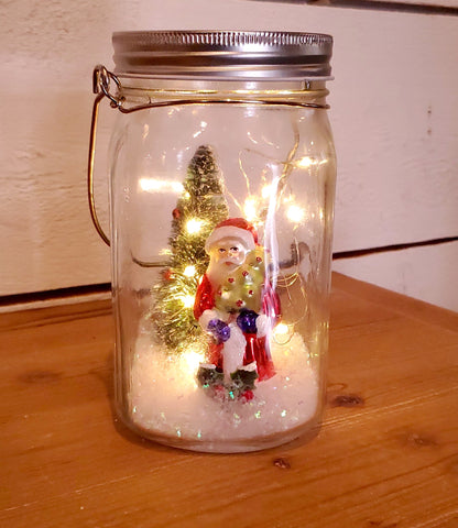 Hanging Light Up Santa Scene Mason Jar