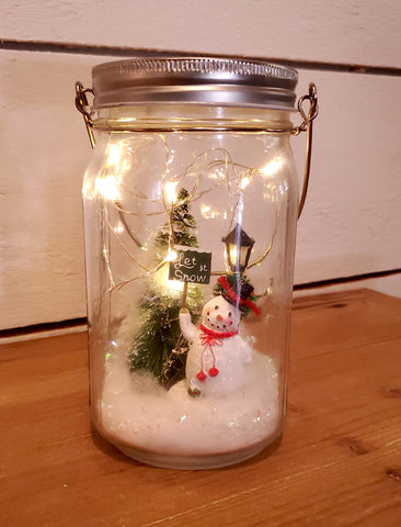 "Hanging Light Up Snowman ""Let It Snow"" Scene Mason Jar"