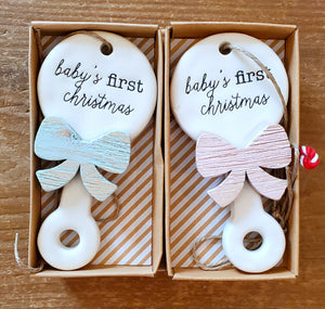 Baby's First Christmas Ceramic Ornament  ~ 2 colors