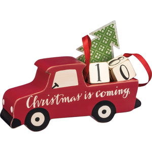 Wooden Red Countdown Truck w/ Metal Tree