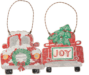 Wood Red Truck Ornaments (2 styles)