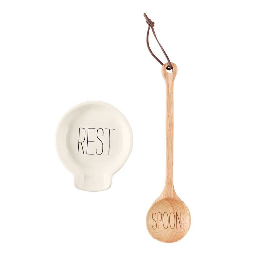 "Wooden ""Spoon"" and ""Rest"" Set"