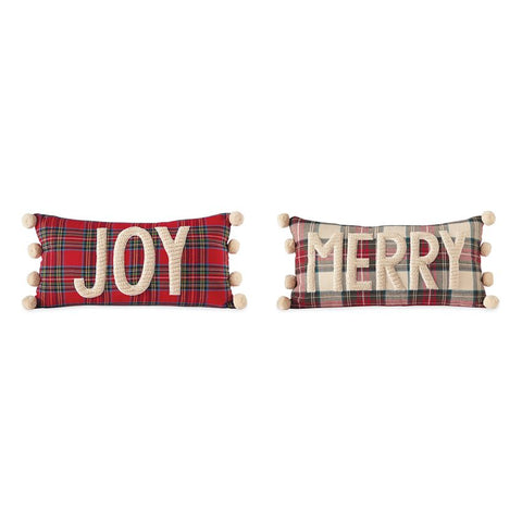 CABLE KNIT & TARTAN POM-POM PILLOWS (2 styles)