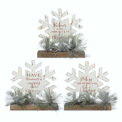 Red and White Snowflake Message Tabletops w/Pine