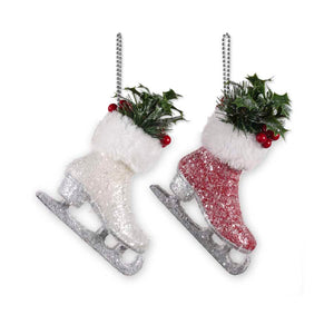 6.25 Inch Glittered Ice Skate Ornament with Holly