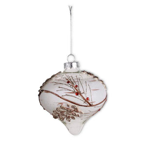 Snowy Clear Glass Onion Ornament with Pinecone and Berries