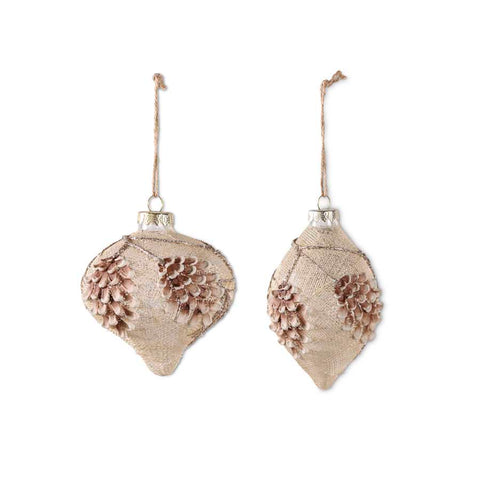 Cream Glass Onion and Teardrop Ornaments (2 Styles)