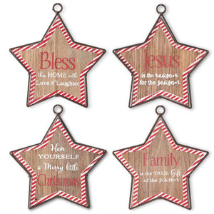 Red and White Striped Wooden Star Message Ornaments (Set of 4)