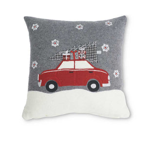 Gray Wool Pillow with Red Car