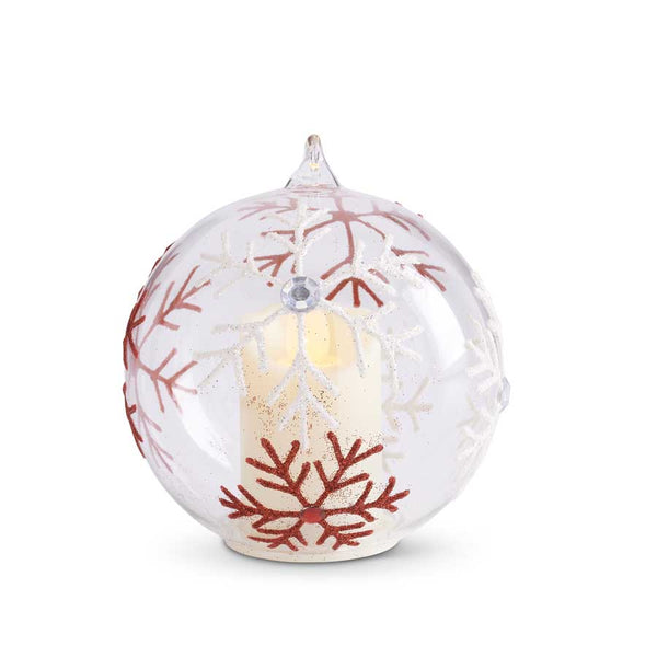 4 Inch Clear Glass LED Ornament- 3 Styles
