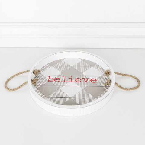 Round Wood Shiplap Tray (Believe), Gray/Red