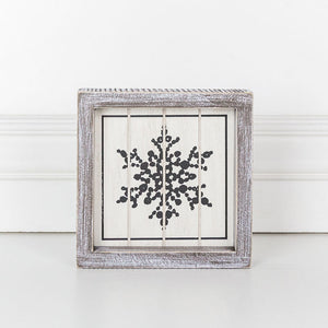 Wood Framed Snowflake Sign