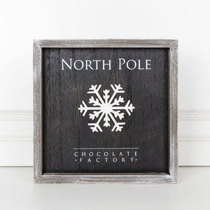 "Wood Framed Sign ""North Pole Chocolate Factory"", Black/White"