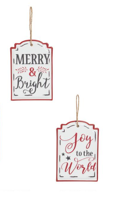 Enamel Holiday Signs Hanging Decor