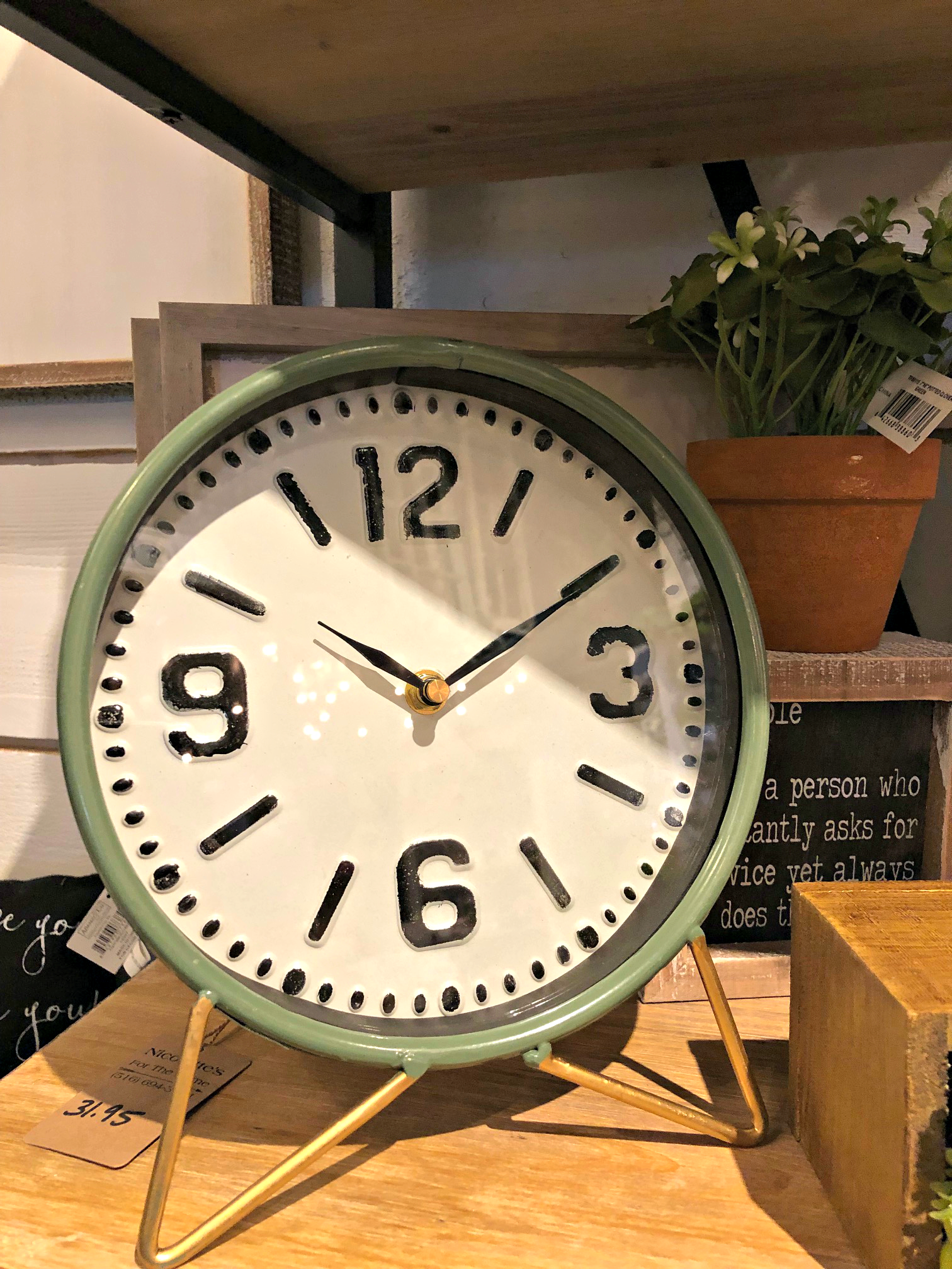 Table Clock Green