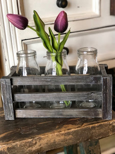 9 Inch Brown Wood Crate w/ 3 Glass Bottles