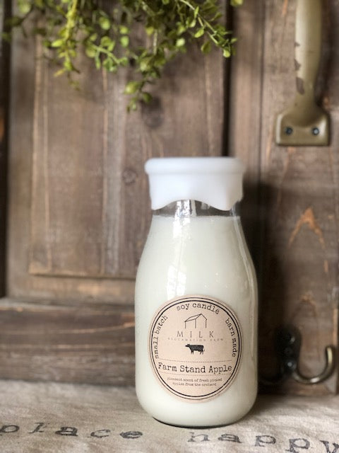 Milk Bottle Candle Farm Stand Apple
