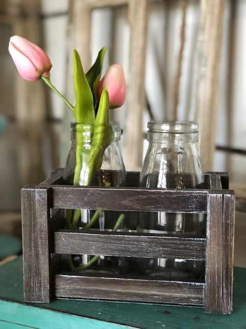 6.5 Inch Brown Wood Crate w/ 2 Glass Bottles