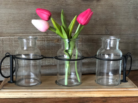 Wood Tray With Glass Bottles
