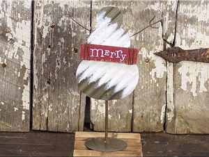 Merry Snowman on Stand w/Clip