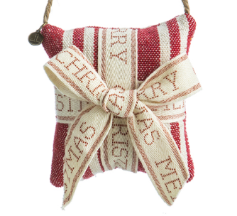 Merry Christmas Stripe Pillow Ornament Red & Beige