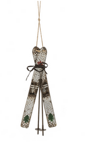 Metal Ski Ornament
