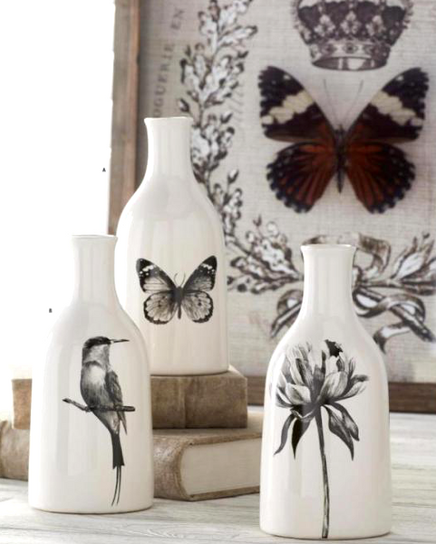 Assorted White Ceramic Bottles ~Black Bird, Butterfly, and Flower Decal