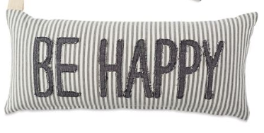 STRIPED DENIM HAPPY PILLOW