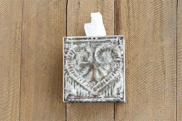 "Wood & Metal ""Bless You"" Tissue Box"