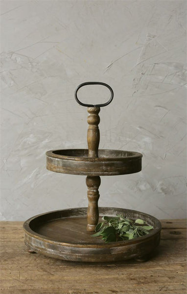 Decorative Round Wood 2-Tier Tray