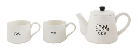 Stoneware Stackable Teapot & 2 8 oz. Mugs Set of 3