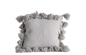 Square Cotton Pillow w/ Tassels, Grey