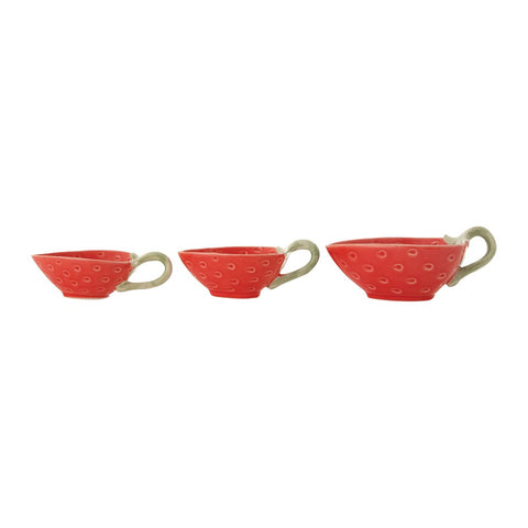 Stoneware Strawberry Prep Bowls w/ Handle, Set of 3